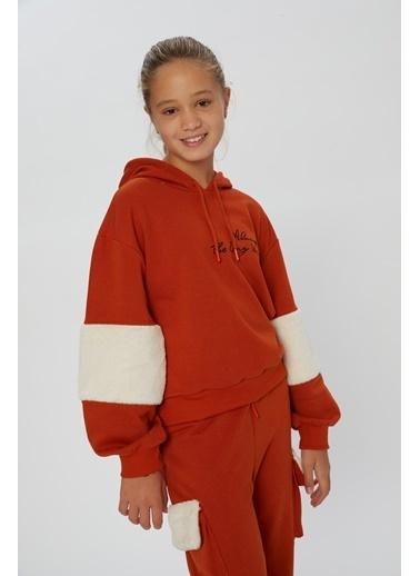 Little Star Little Star Kol Kapşon Kürklü Sweatshirt Kiremit